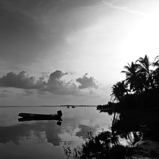 """""""black and white landscape with fisherman boat in the lake"""" stock image"""