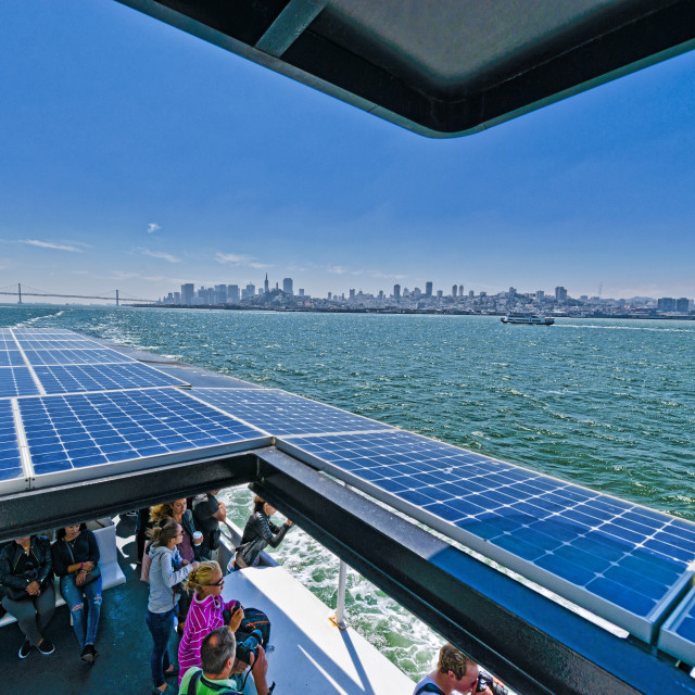"""Solar powered ferry boat"" stock image"