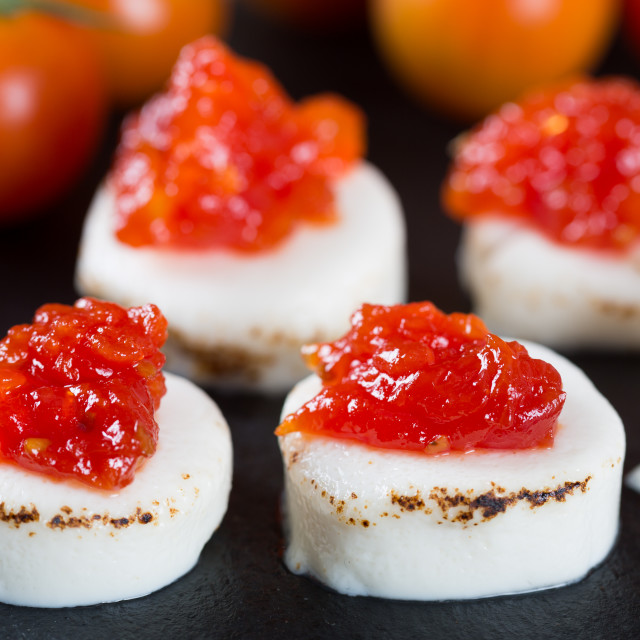 """Goat cheese with tomato jam"" stock image"