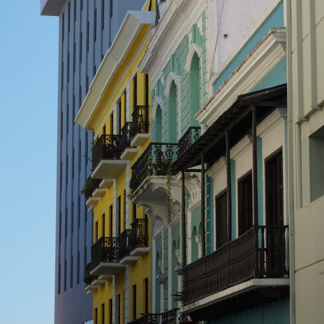 """Colorful buildings in San Juan"" stock image"