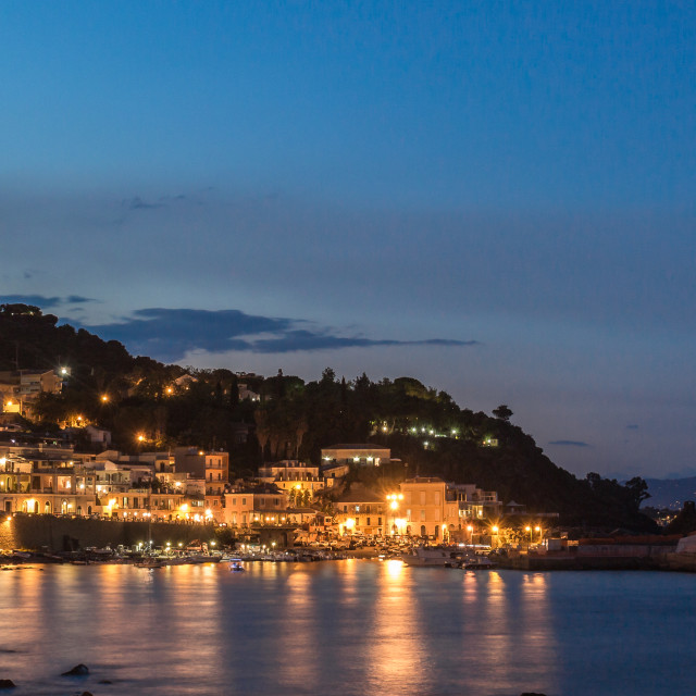 """""""The coast of Sicily by night"""" stock image"""