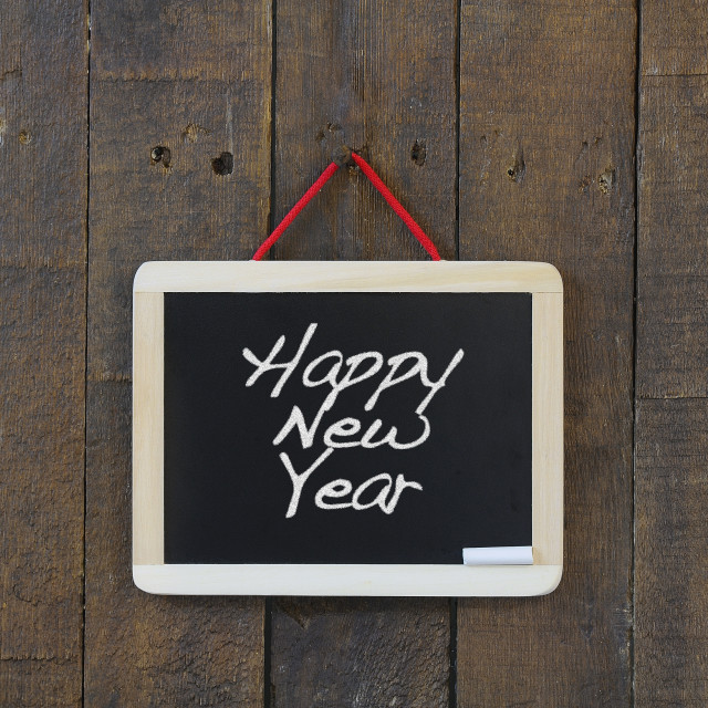 """Happy New Year blackboard."" stock image"