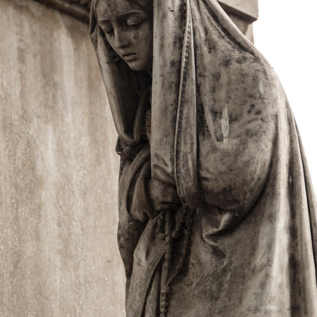 """Mournful statue, National Cemetery, Santiago, Chile"" stock image"