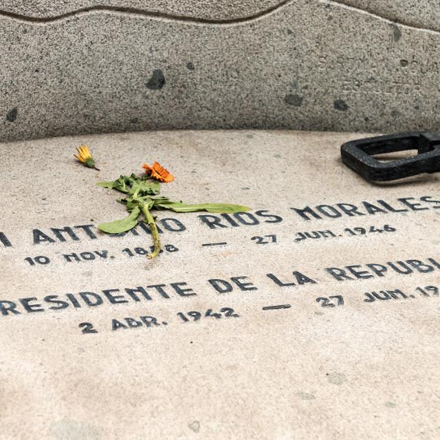 """Grave of Juan Antonio Morales, National Cemetery, Santiago, Chile"" stock image"