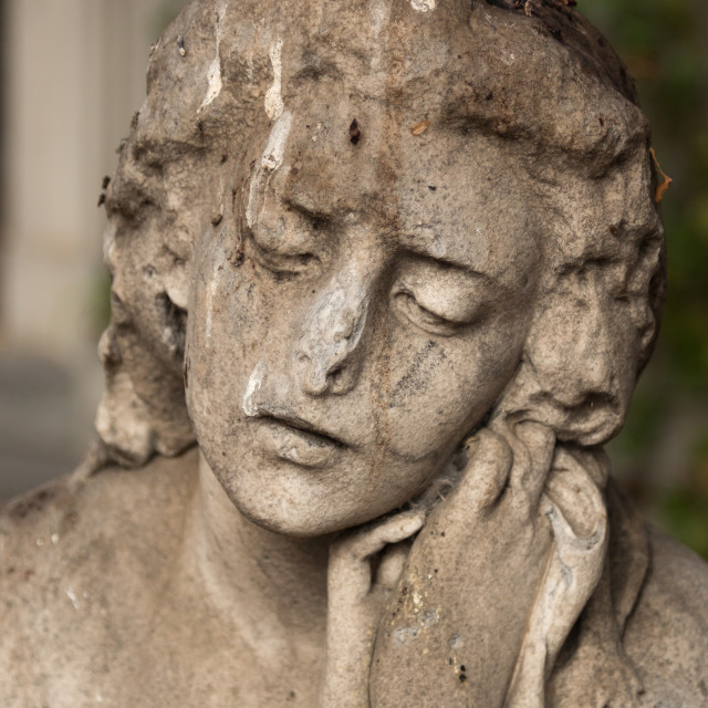 """""""Mournful statue, National Cemetery, Santiago, Chile"""" stock image"""