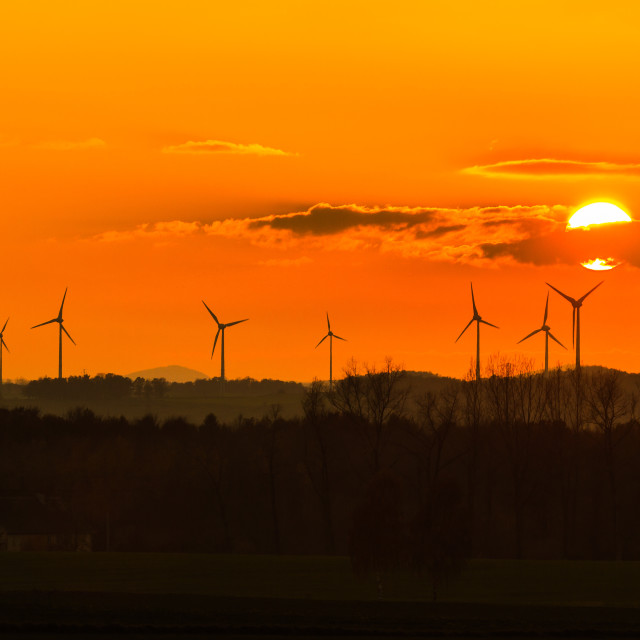 """sunset with windmills"" stock image"