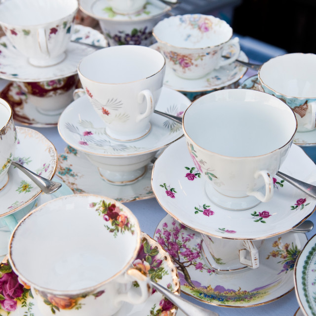 """Cups and Saucers"" stock image"