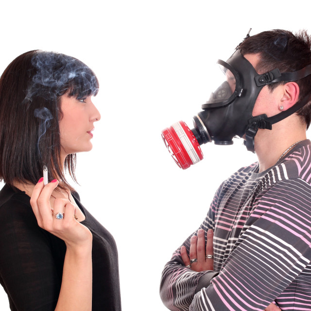 """""""man with gas mask protects against tobacco smoke"""" stock image"""