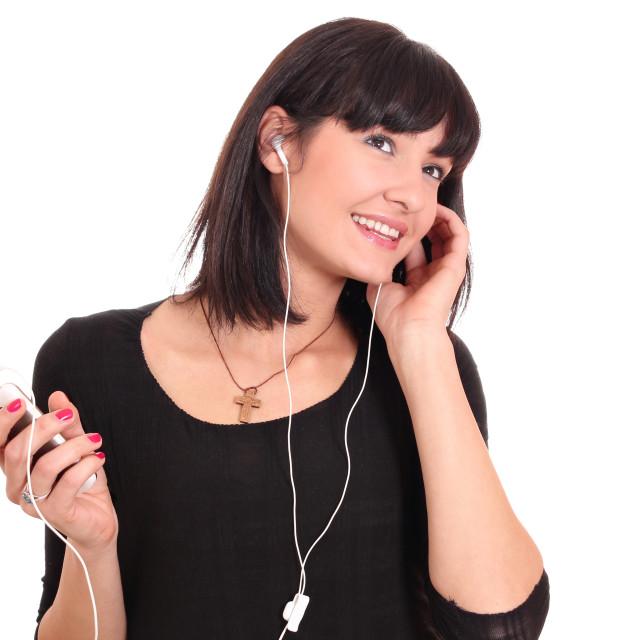 """beautiful girl listening music"" stock image"