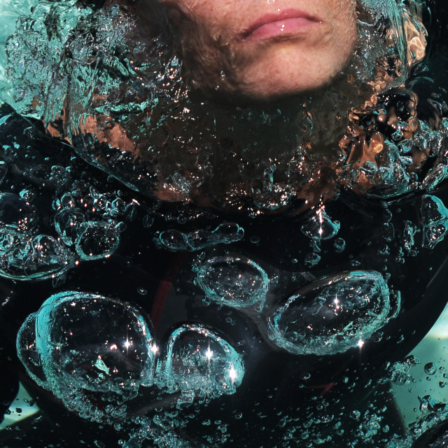 """Water Bubbles from Diver"" stock image"