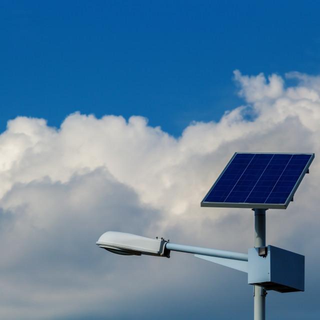 """street light with solar panel"" stock image"