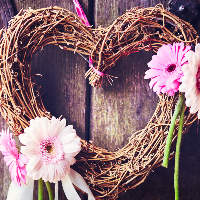 """wicker heart with flowers"" stock image"