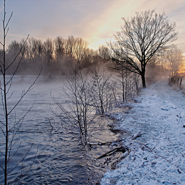 """""""River in winter with snow"""" stock image"""