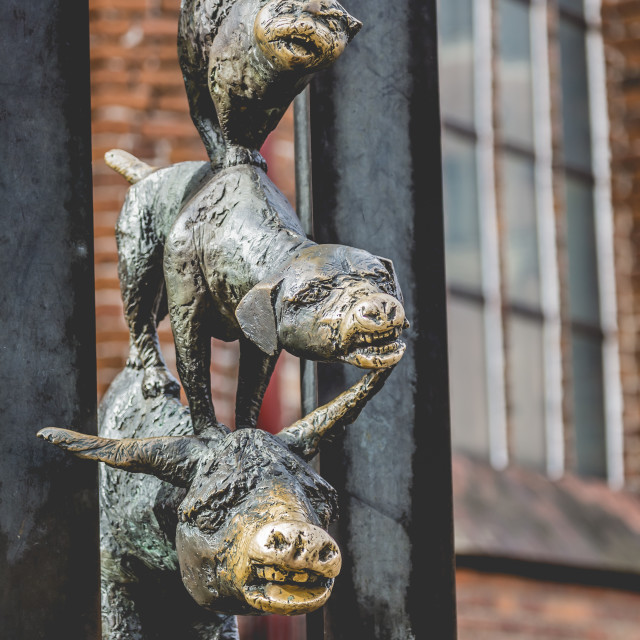 """""""Sculpture of the Town Musicians of Bremen"""" stock image"""