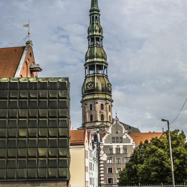 """Skyline of Riga seen across the river Daugava"" stock image"