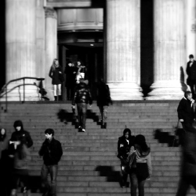 """On the steps of St. Pauls"" stock image"