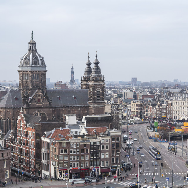 """""""Amsterdam view with St.Nicolaaschurch"""" stock image"""