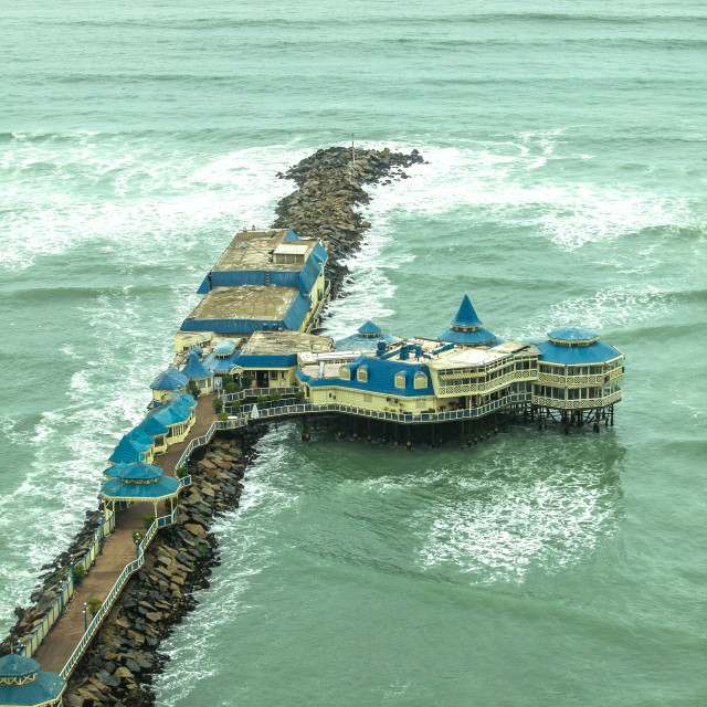 """Restaurant on a pier in lima, Peru"" stock image"