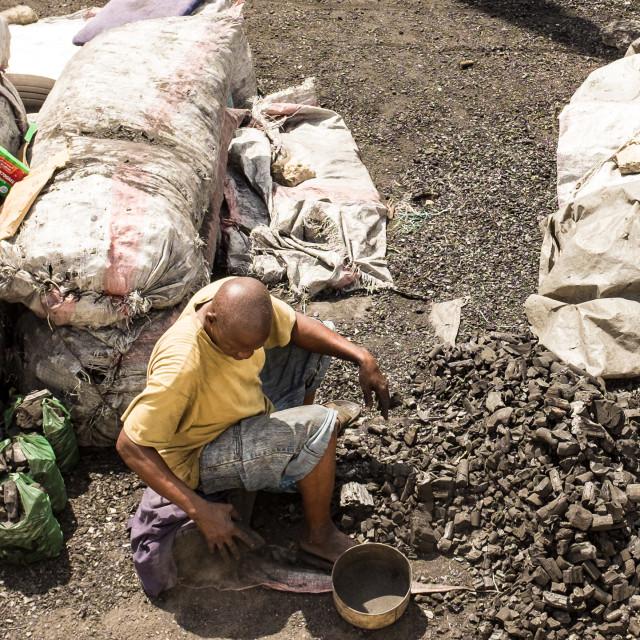 """Dar es Salaam - Sorting the Charcoal"" stock image"