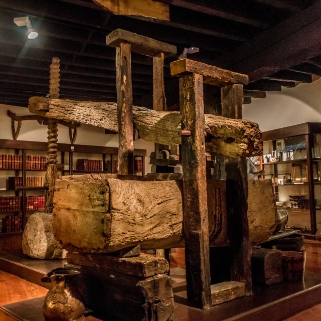 """Old Madeira wine press"" stock image"