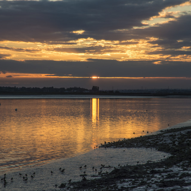 """""""Sunset River View, Essex"""" stock image"""
