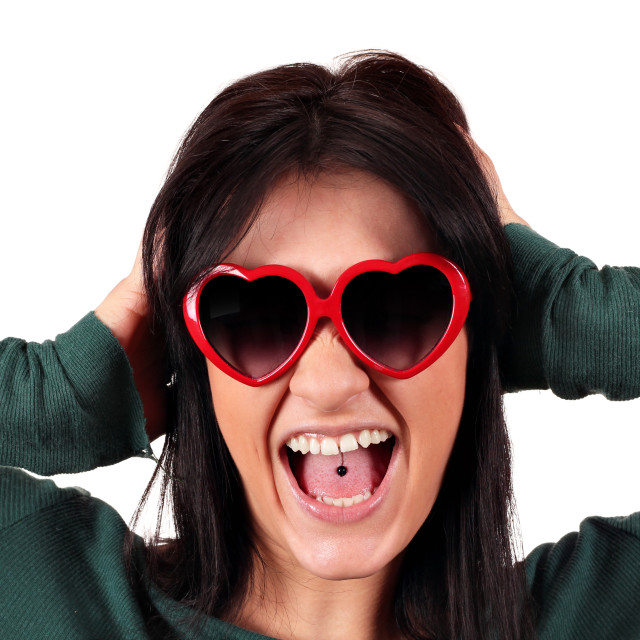"""""""beautiful girl with tongue piercing"""" stock image"""