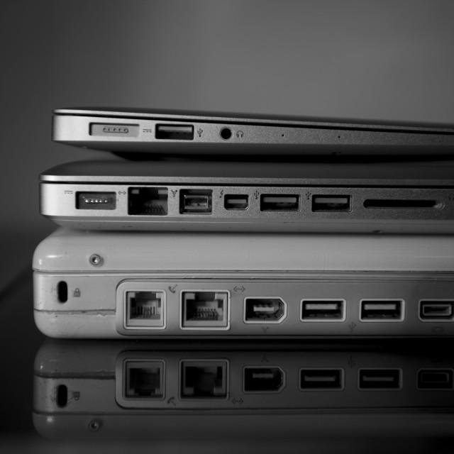 """Apple Laptop Evolution"" stock image"