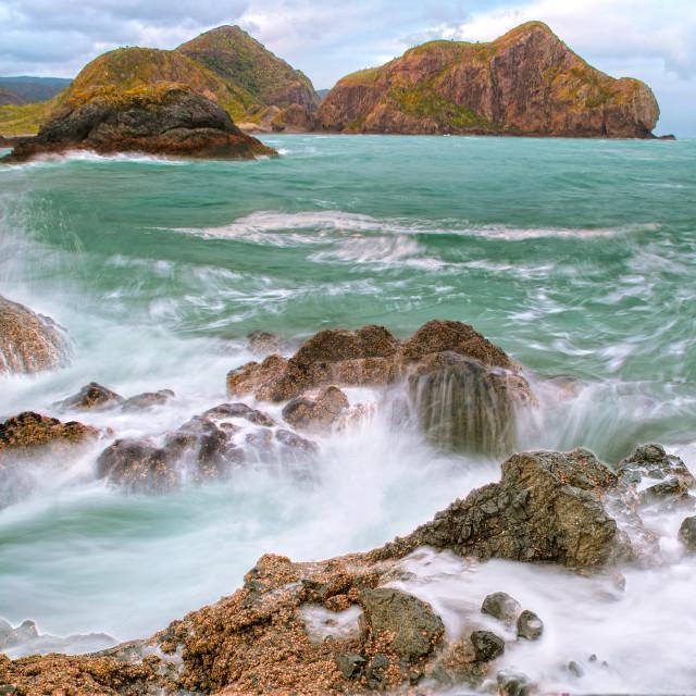 """Scenic but wild beach ....."" stock image"