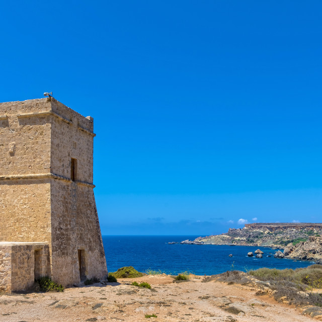 """""""Għajn Tuffieħa tower"""" stock image"""