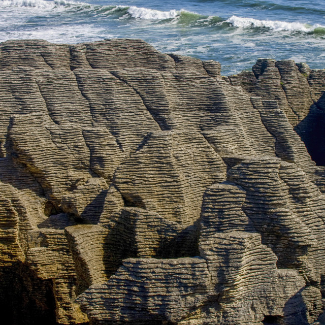 """Pancake rocks at Punakaiki on westcoast of New Zealand"" stock image"
