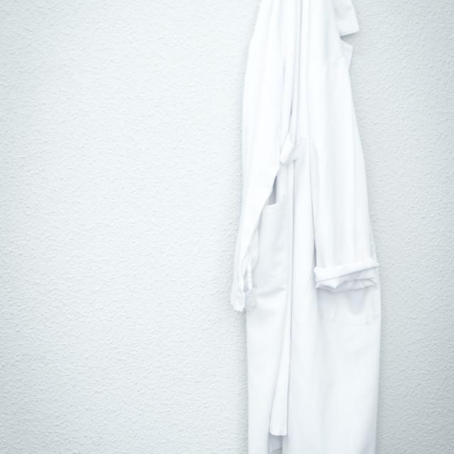"""White medical coat uniform in hospital clinic"" stock image"