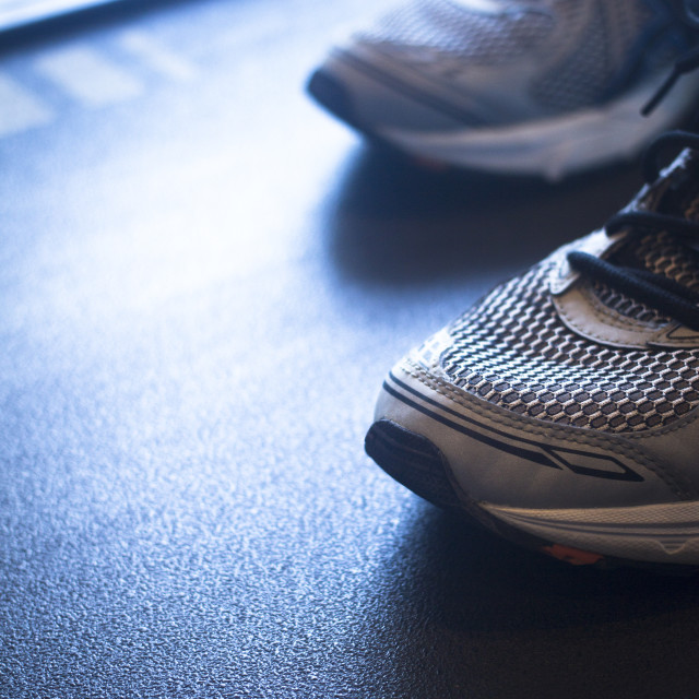 """""""Running machine in sports health exercise club"""" stock image"""