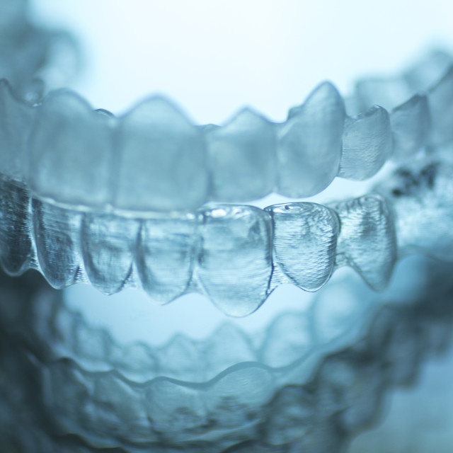 """""""Invisible dental teeth brackets aligners braces retainers"""" stock image"""