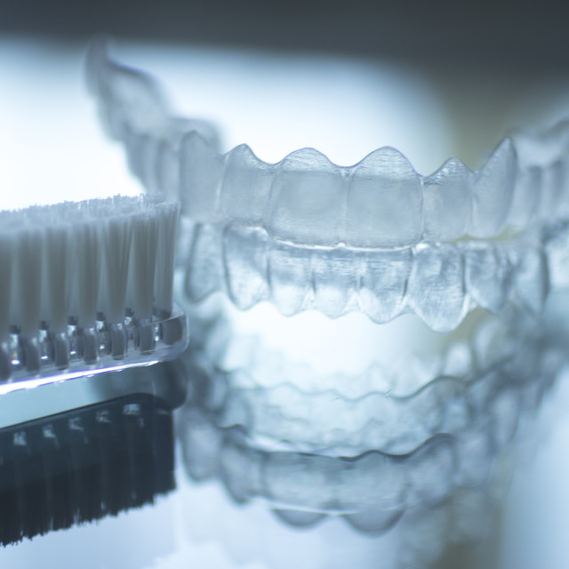 """""""Invisible dental teeth brackets aligners retainers and toothbrush"""" stock image"""