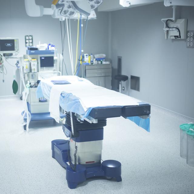 """Orthopedics surgery hospital operating room bed"" stock image"