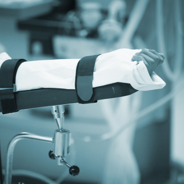 """""""Traumatology orthopedic surgery hospital immobilized arm"""" stock image"""