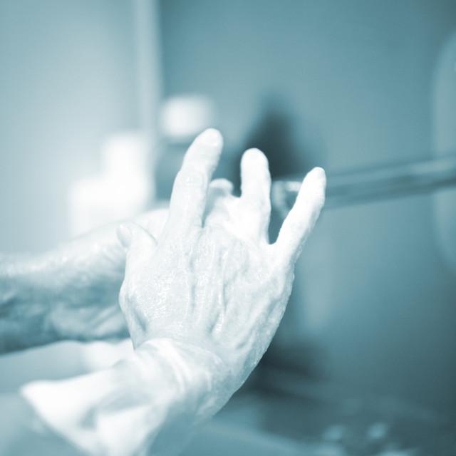 """Traumatology orthopedic surgery scrubbing washing"" stock image"