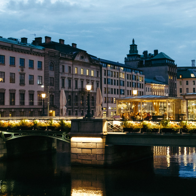 """Gothenburg river at night"" stock image"