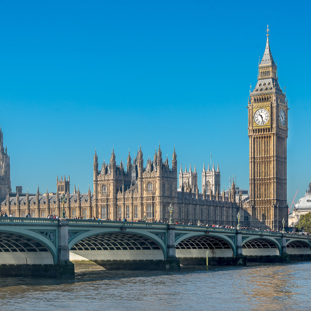 """Westminster Bridge, Elizabeth Tower and the Houses of Parliament"" stock image"