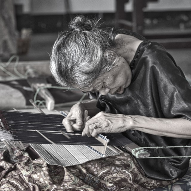 """An old lady the weaver"" stock image"