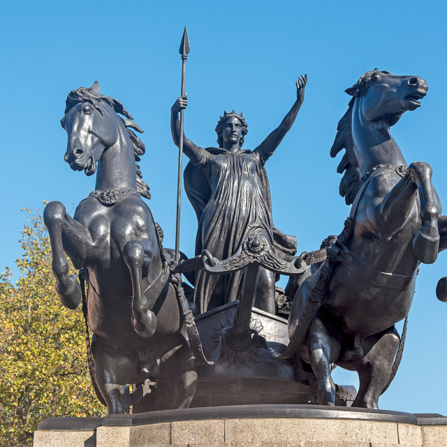 """Statue of Boudica on Westminster Bridge"" stock image"