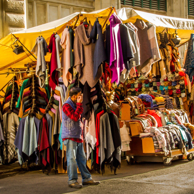 """""""Market stall in Florence Italy"""" stock image"""