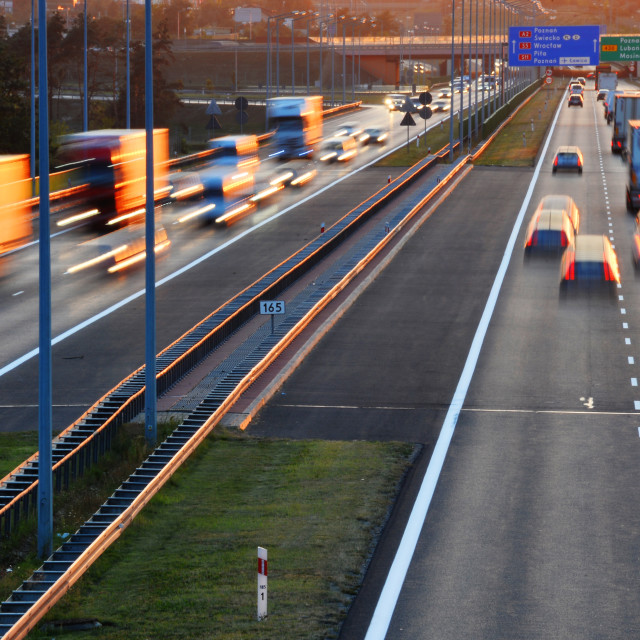"""Controlled-access highway in Poznan, Poland"" stock image"