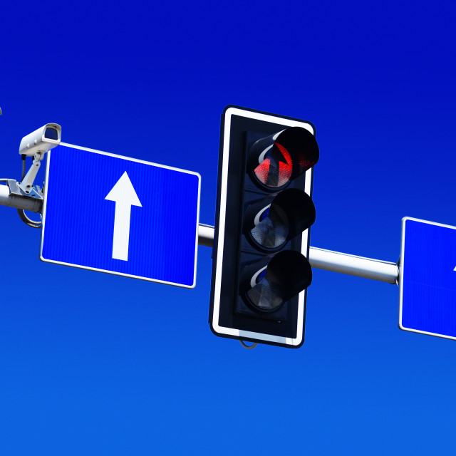 """Traffic lights over blue sky"" stock image"