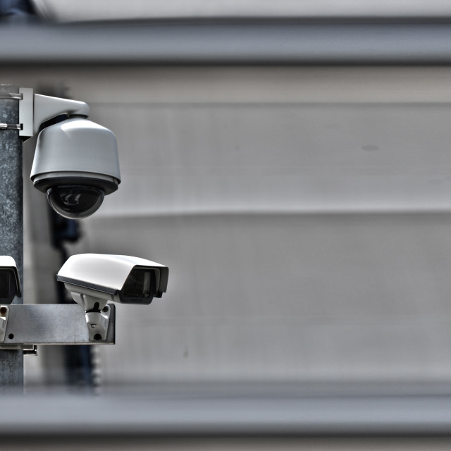 """""""High tech overhead security camera system in guarded area"""" stock image"""