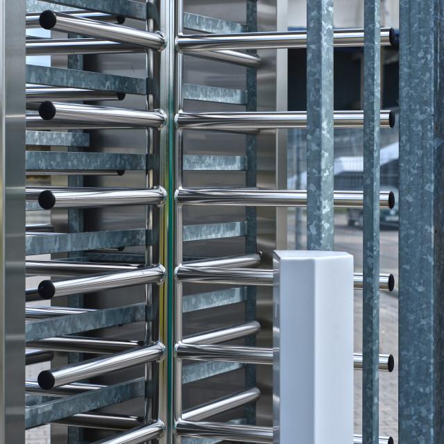 """""""Full-height turnstile guarded stadium entrance"""" stock image"""