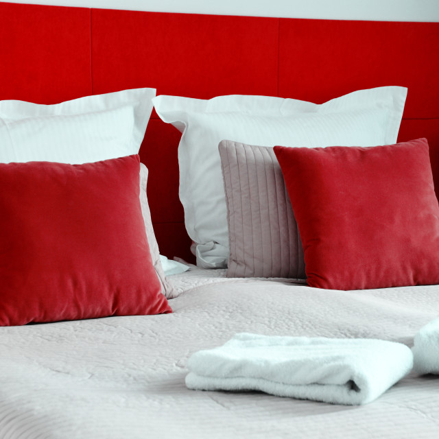 """Double bed in hotel room. Accommodation"" stock image"