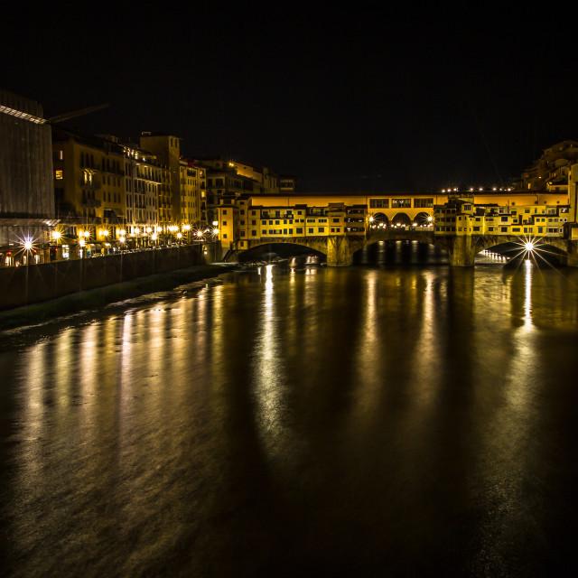 """Ponte Vecchio across the River Arno at night"" stock image"