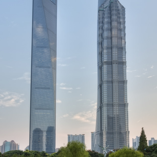"""View on Jin Mao Tower, Shanghai Tower and World Financial Center"" stock image"
