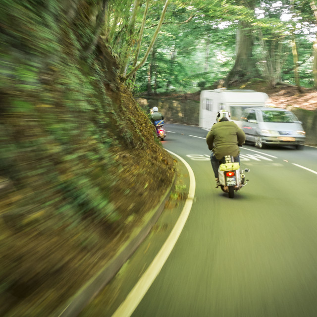 """Scooterist's Heading for Scooter Rally"" stock image"